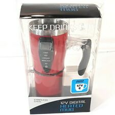12V Digital Heated Mug Stainless Steel in Open Box Red Electronic Cup
