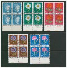 SWITZERLAND HELVETIA 1963 PRO JUVENTUTE SET 5 IN BLOCKS OF 4 MARGINS FINE USED