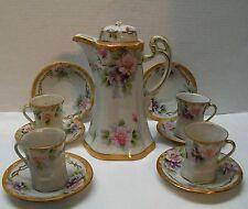 Nippon Tea Set Teapot Cups Saucer 12 pcs Purple Pink Flowers Gold Trim Vintage
