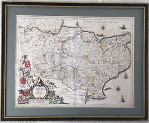 Cantium Vernacule Kent - Antique Map by Jan Jansson 1646-1666.