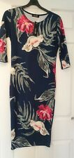 Ladies Nouvelle Navy Floral Bodycon Dress Midi Size 12 New