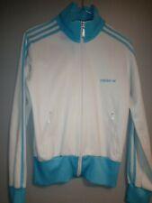 Women's Vintage Adidas Tracksuit Jacket Size 12 UK White/Sky Blue