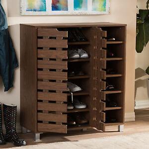 Shoe Cabinet Rack Organizer Wood Shelves Open 2-Door Walnut Modern-Contemporary!