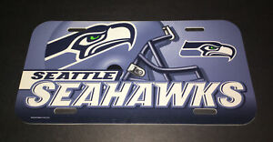NFL Seattle SEAHAWKS License Plate Vintage NOS Wincraft Made In USA