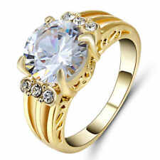 Jewelry Ring Size 6 White Sapphire CZ Women's 10Kt Yellow Gold Filled Wedding