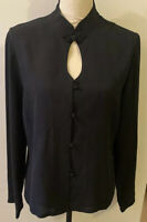 HARARI 100% SILK BLOUSE LONG SLEEVE TOGGLE FASTENERS BLACK Medium High Neck Mint