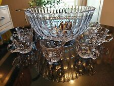 Gorgeous Antique 12 Cup Japanese Crystal Punch Bowl