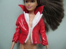 """Skipper Modern Teen Barbie Doll Clothes~RED FAUX LEATHER """"ZIP UP"""" JACKET COAT"""