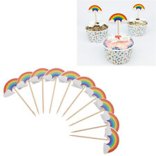 24pcs Rainbow Cupcake Toppers DIY Birthday Wedding Party Decoration Supplies