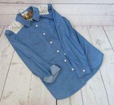 Myer Miss Shop - LADIES Blue Denim Lace Shirt - Size S 8 10