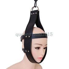Faux Leather Head Suspension Harness Mask Hanger Ring Bondage Restraint Toy