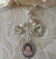 Vintage Inspired Ivory Dad Memorial Bouquet Photo Charm Wedding/Bridal