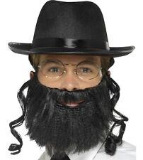 Mens Men's Gents Rabbi Fancy Dress Kit Hat with Hair Beard Glasses New Smiffys