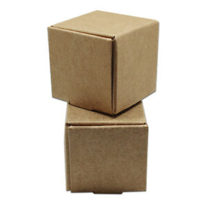 50x Small Folded Kraft Paper Brown Box For Jewelry Toy Wedding Party Gift Candy