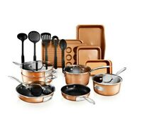 StackMaster 21- Piece Aluminum Cast Textured Ceramic Nonstick Cookware Set