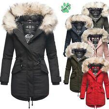 Navahoo Premium Damen Winter Jacke Parka Mantel Damenjacke Mega Kunst-Pelz Lady