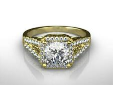 AMAZING 3.25 CARAT H SI2 RADIANT CUT HALO SPLIT 18 K YELLOW GOLD RING LADIES