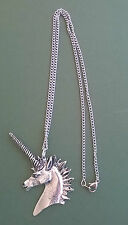 Pewter pendant, unicorn design, made in Cornwall, 17.5 surgical steel chain