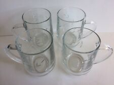 Engraved Glass Coffee Mugs Made In France - Floral Design - V G C