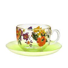 "Luminarc ""Maritsa Green"" Tempered Glass Tea Set of 6 Cups and 6 Saucers"