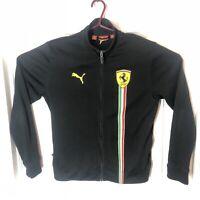 Ferrari Black Jacket Sweater Size Medium Puma Scuderia Italian Racing Zip Up