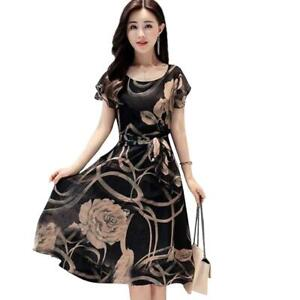 Women Crew Neck Short Sleeve Printed Floral Casual Summer Ruffle  Party Dress