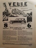 1927 Velie Motors straight-8 sedan car tiger art vintage ad