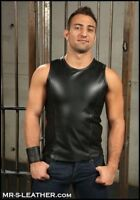 New Black Real Leather Sport Tank Top Vest Shirt Sleeveless Fitted mens Fetish