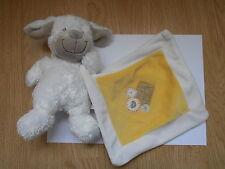 DOUDOU mouton chien NICOTOY blanc écru marron carré jaune souris