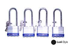 Lot of (4) 40mm Long Shank Laminated Steel Padlocks Locks w/ 2 Keys Security