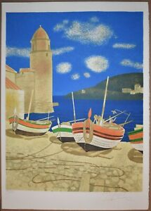 Listed French Artist Yves Ganne Signed Numbered Original Color Lithograph