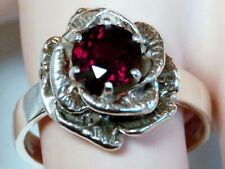 NATURAL RED GARNET ANTIQUE 925 STERLING SILVER FLOWER RING SIZE 10 USA MADE