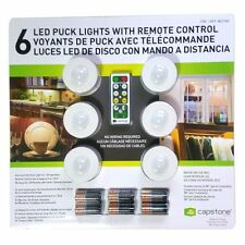 6 LED Puck Lights-Wireless,with Remote Control & Batteries by Capstone,Free Ship
