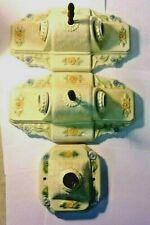 Vtg Porcelain Floral Light Fixtures Wall Sconces - lot of 3 - 2 double 1 single