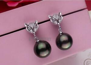 Pair of 10-11mm natural south sea genuine round fox black pearl earring AAA 554
