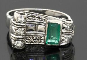 Antique 18K white gold 1.0CTW diamond & emerald cocktail ring size 5.5
