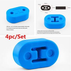 4pcs Universal Car Polyurethane Rubber 2 Hole 12mm Exhaust Muffler Hanger Blue