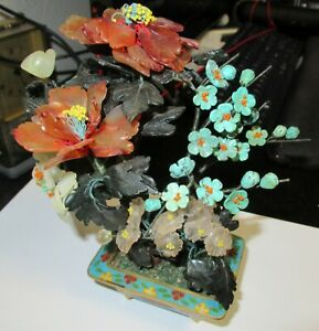 SMALL TURQUOISE JADE ROSE QUARTZ AGATE FLORAL BLOSSOM CLOISONNE ENAMEL POT TREE