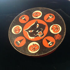 Halloween Round Black Cat Noise Maker US Metel  Toy Made USA    Vintage
