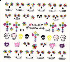 Nail Art Water Decals Glow in the Dark Halloween Skull Hearts Flowers GID002