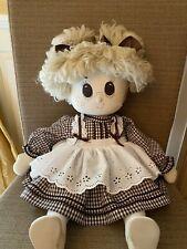 "Rag Doll Cloth Doll 24"" Blonde Yarn Hair Gingham Dress Preowned"