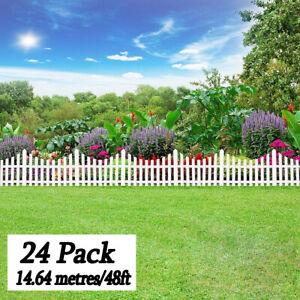 24pcs White Plastic Decorative Fence Pieces Interlocking Garden Decor Accessory
