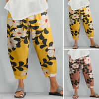 UK Womens Floral Printed Elastic Waist Harlan Trousers Casual Loose Baggy Pants