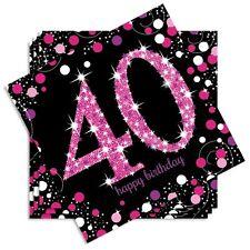 Servietten Glitzer-Optik, 40. Geburtstag, pink, 16 Stk, 33cm x 33cm