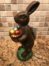 Easter Spring Faux Chocolate Bunny Rabbit Eggs Basket Sculpture Decor New