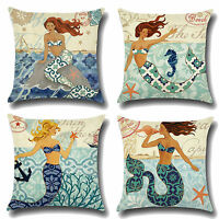 Retro Mermaid Cotton Linen Waist Cushion Cover Throw Pillow Case Decoration US