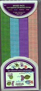 """Corrugated Quilling Paper Strips Mix Pack Gr-Purp-Blue-Pink 32 strips 18.5"""" Long"""