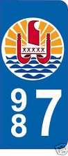 2 Stickers style plaque AUTO adhésif département 987 Tahiti