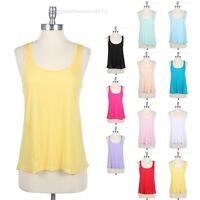 Soft Rayon Sheer Jersey Racerback Sleeveless Solid Basic CASUAL Tank Top S M L