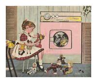 Retro Girl in Laundry Room w/ Toys DIGITAL Counted Cross-Stitch Pattern Chart